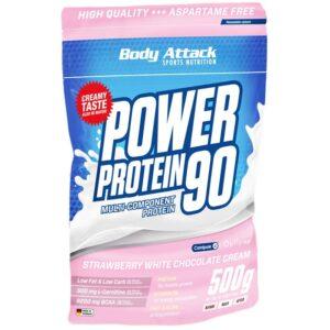 Body Attack Power Protein 90 valgupulber, Maasika-valge šokolaadikreemi (500 g) 1/1