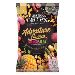Jersika madalama rasvasisaldusega krõpsud, Mango- ja salsamaitselised (90 g). Parim enne 07.09.2020 1/1